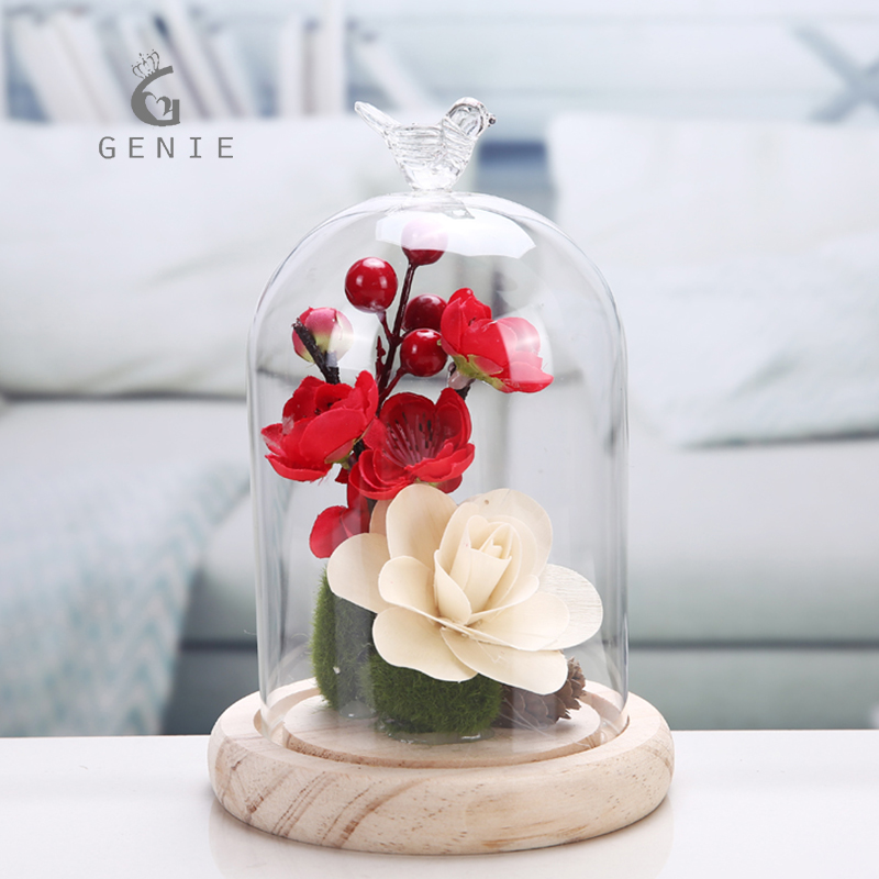 Genie Beautiful Preserved Flower Glass Dome Vase For Wedding Table Decoration Display Plants And Fruits Mothers Day Gifts Cheap In Party Favors From Home