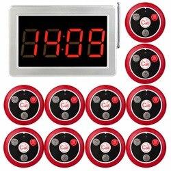 RETEKESS 999 canales RF sistema inalámbrico de llamada del camarero para el servicio de restaurante Pager sistema 1 receptor Host + 10 botón de llamada