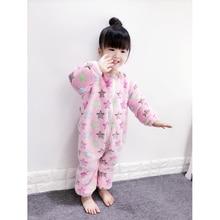 Высокое качество Детские пижамы Одна деталь для девочек пижамы коралловый флис теплый спальное место на молнии теплая одежда для мальчиков детская пижама