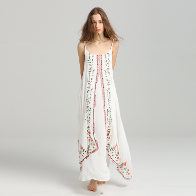 5adac1b0dd8 Embroidery Long Maxi Boho Holiday Dress 2018 Spring Summer Sexy Spagheet Strap  Loose Beach Chic Femme Dresses Vestidos-in Dresses from Women s Clothing on  ...