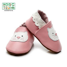 Genuine Leather Pink Cat Baby Boys Girls Shoes Soft Soled Non-slip Footwear Crib Shoes Infant Casual Moccasins Firstwalkers(China)