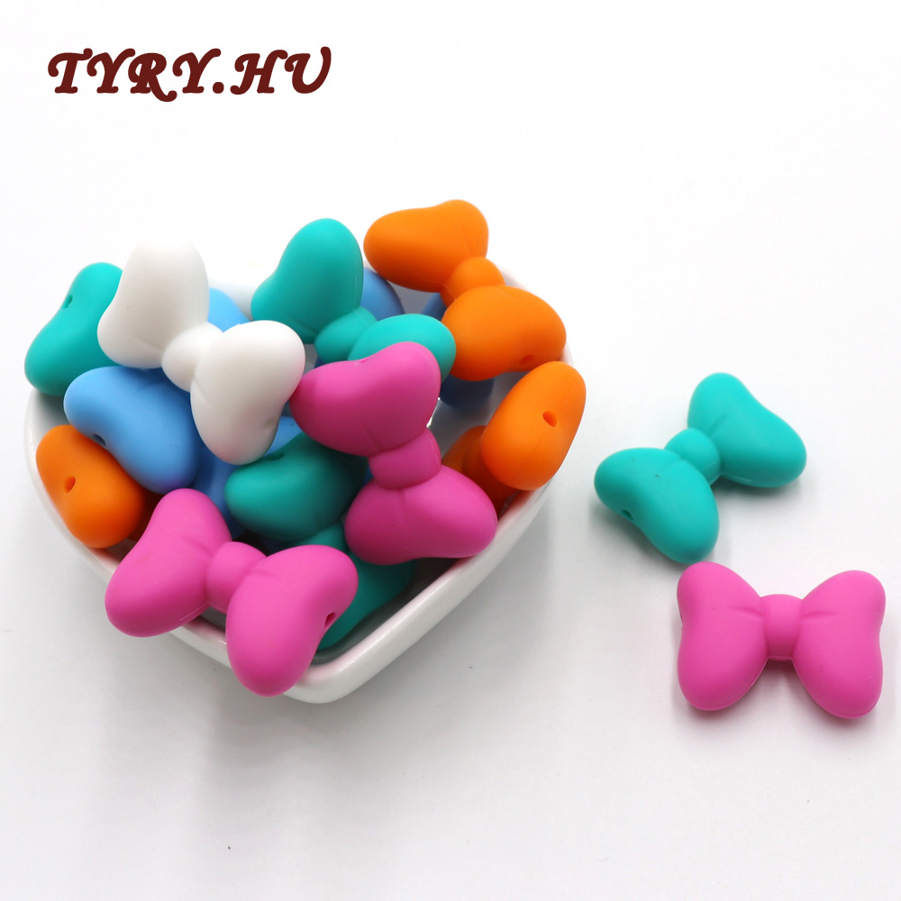 TYRY.HU 5PCS Bow Tie Silicone Beads Baby Teethers Food Grade Silicone Teether DIY Teething Necklace Jewelry Making Soother Chain
