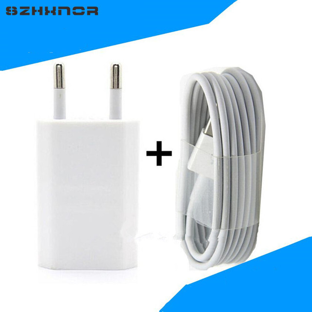 SZHXNOR For Iphone 5 5S 6 PLUS 6s 7 se Ipod Wall Charger adapter EU Plug + USB Data Cable For IOS 11,Mobile Phone Charger