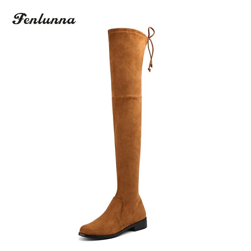 Marron Faux daim femmes sur le genou bottes populaires dames hiver haute talon botte femmes dames daim talons hauts taille 35-41