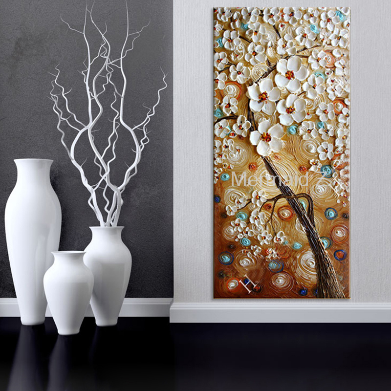 Handmade abstract wall art pictures thick pallete knife oil paintings flower tree modern home decoration long vertical paintings in painting calligraphy