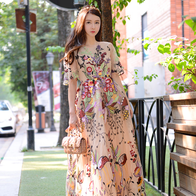 Top fashion Embroidery Dresses Beach holiday Boho Floral ...