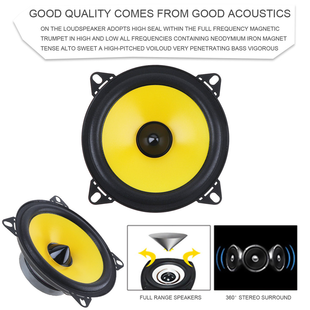 LABO 2pcs 4 inch 60W 88dB 2-Way Full Range Frequency <font><b>Car</b></font> <font><b>Audio</b></font> Stereo Coaxial <font><b>Speaker</b></font> <font><b>Car</b></font> <font><b>Speaker</b></font> Automobile Loudspeaker image