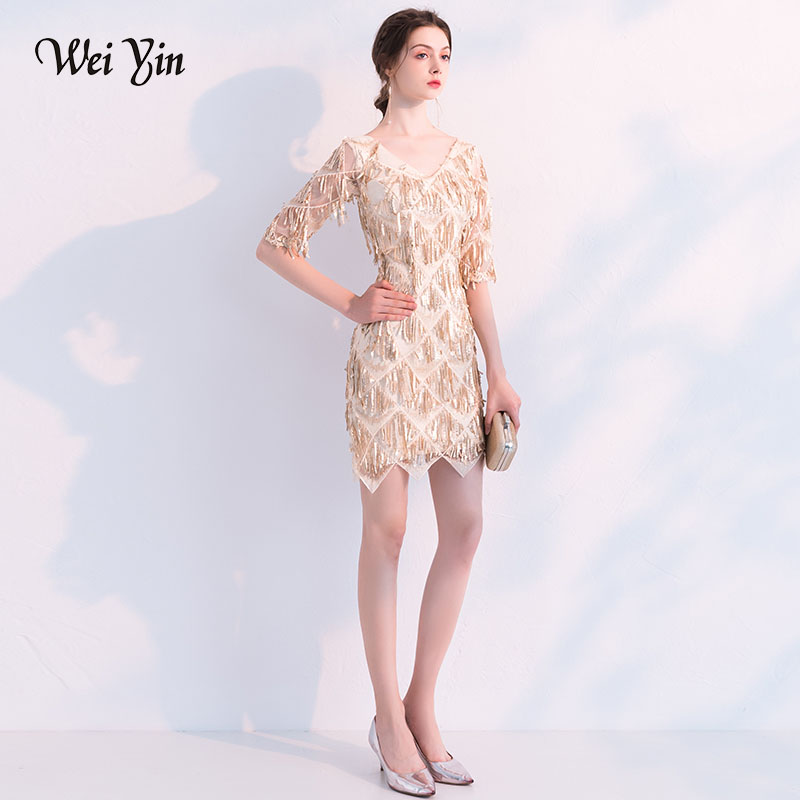 weiyin New Luxury Banquet Sequined   Cocktail     Dresses   Sexy Slim Gradient Gold Mini Party Gown Formal   Dresses   WY757