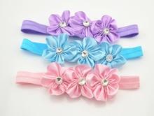 3pcs lot Fashion Beautiful Children Flower Hair Band Baby Cute Hair Hoop Boutique Rhinestone Head Band