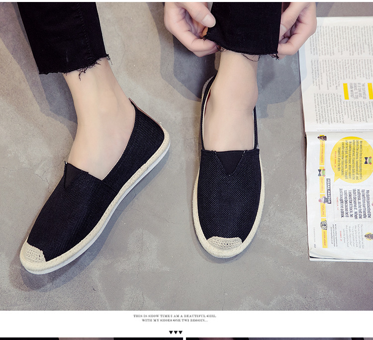 UPUPER Breathable Linen Casual Men's Shoes Old Beijing Cloth Shoes Canvas Summer Leisure Flat Fisherman Driving Shoes Wicking