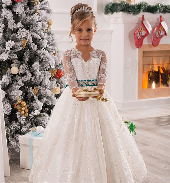 White/Ivory Lace Long Sleeve Flower Girls Dresses for Wedding Girls Party Gowns Any Size недорго, оригинальная цена
