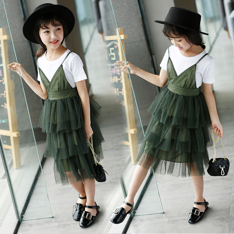 mesh patchwork 2017 New kids girl party dresses brand pink green midi long layered princess little teenage girl dress clothing lace mesh little teenage girls party dress layered spring summer 2017 long girl princess gown dress white pink sundress clothes