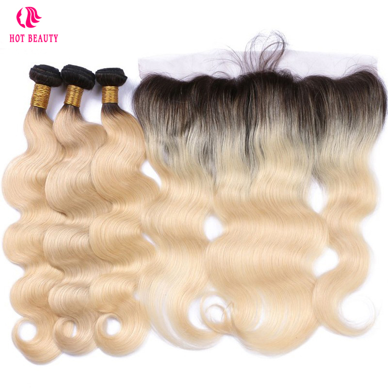 Beleza quente Cabelo Brasileiro Do Cabelo Humano Raízes Negras 1B/613 da Onda Do Corpo Weave Bundles Com 13x4 Rendas cabelo Remy Fechamento Frontal 4 pcs