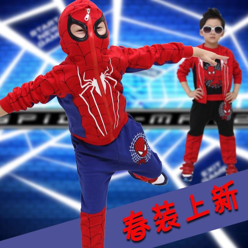 2015 Boys Spider Man Clothes 3pcs Sets Hoodie+Shirt+Pants Children Autumn Cotton Spiderman Fleece Suit Baby Casual Wear 100-150 paul frank baby boys supper julius fleece hoodie