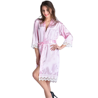 2017 Top Selling Short Satin Women's Kimono Wedding Bride Bridesmaid Robe Silk Lace Robe Fashion Dressing Gown Bathrobe