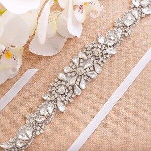 Image 2 - Pas dla nowożeńców kryształ kwiat szarfa ślubna srebrne kryształki pas ślubny skrzydła na druhny sukienki J138S
