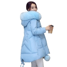 Women Cotton Coat 2017 New  Large measurement  Women Coat Medium Long thickening Ms. winter  Warmcheapclothes Long Sleeve parkas