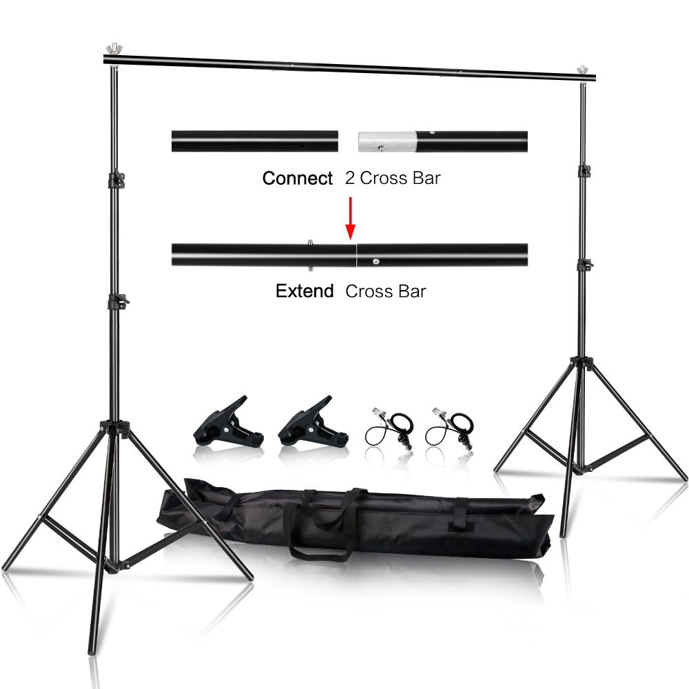 2x2M/6.5x6.5ft Photo Video Studio Backdrop Background Stand, Adjustable Telescopic Background Support System With Carry Bag