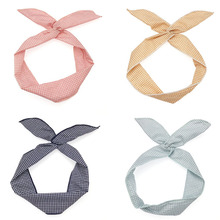 Fashion Plaid Rabbit Ears Turban Hair Accessories Wrap Knot Headband Band for Women Girls Headwear Gift