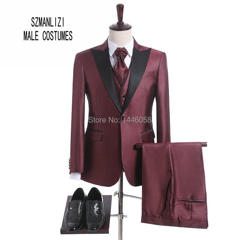 Brand Men Suit 2018 Custom Made Prom Wedding Suits For Men Peaked Slim Fit Burgundy Groom Suit Mens Tuxedo (Jacket+Vest+Pant+Tie
