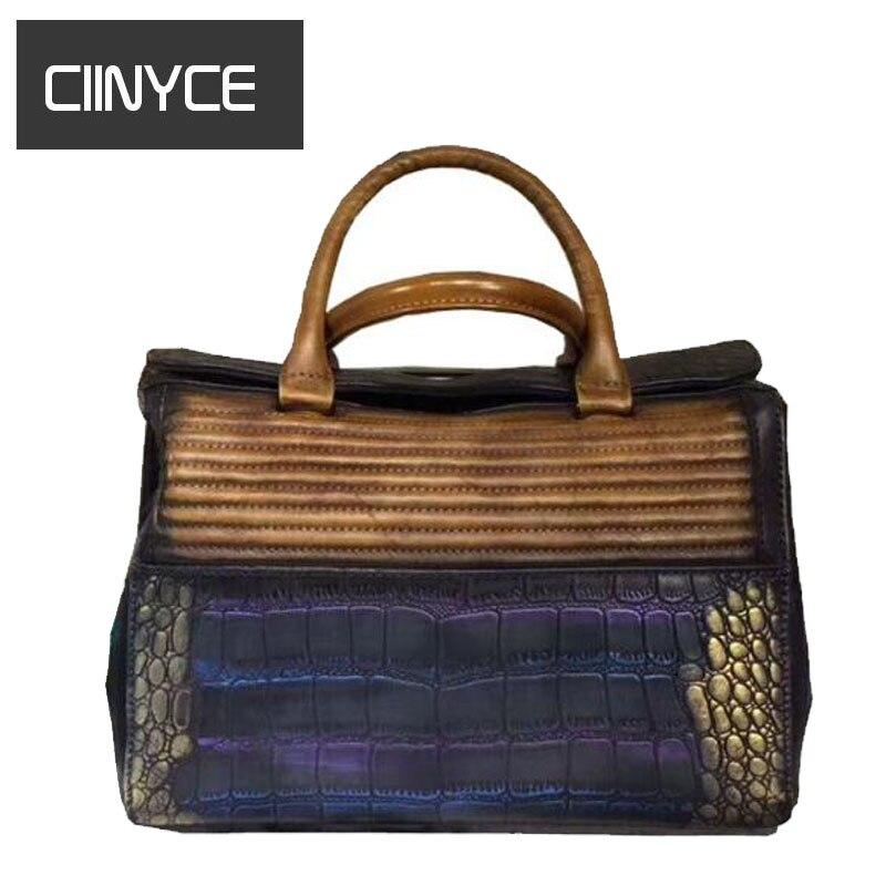 Brand Women Genuine Leather Handbags Original Designer Satchel Totes Cowhide Crocodile Texture Messenger Shoulder crossbody bags