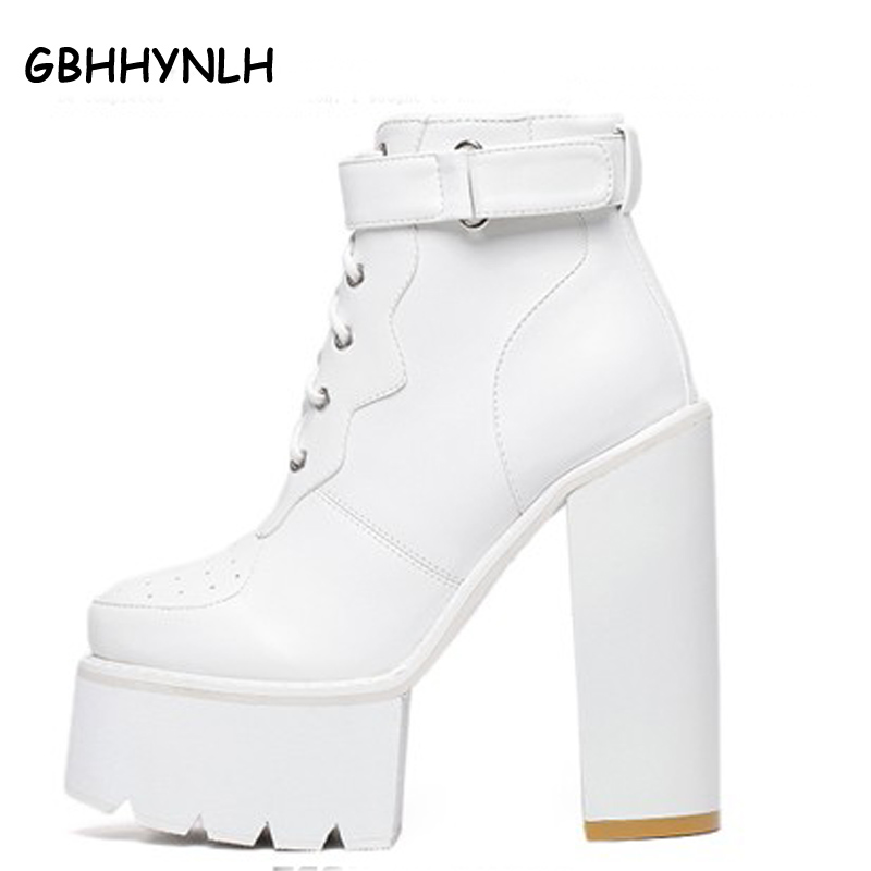 punk boots women pumps winter autumn shoes women black boots high heels motorcycle women ankle boots white platform boots D244