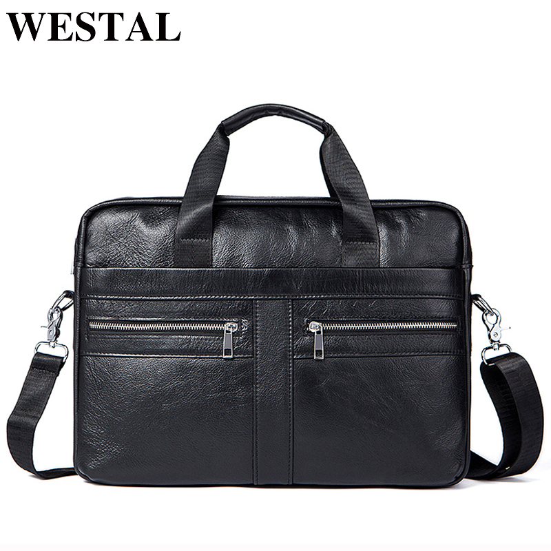 WETSTAL Business Briefcases Man for lawyer Genuine Leather Messenger Bag Men Shoulder Bags leather laptop men
