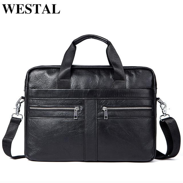 WETSTAL Business Briefcases Man for lawyer Genuine Leather Messenger Bag Men Shoulder Bags leather laptop men's briefcases 2019