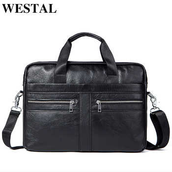 WETSTAL Business Men's Briefcases Men's Bag Genuine Leather Messenger Bags Laptop Bag Leather Briefcase Office Bags for Men 2019 - DISCOUNT ITEM  50% OFF All Category