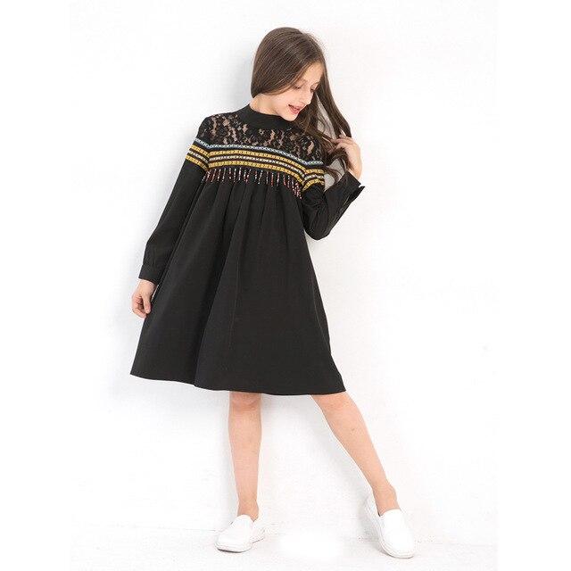 Long Sleeve Dress for Girls Elegant Lace Tassels Black Dress Teenage Girl Clothing 8 10 12 14 years Kids Dresses Girls Muslim