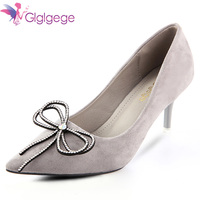 Glglgege Women High Heels Shoes Pumps 7cm Black Stilettos Heels Sexy Pointed Toe Flock Pumps Nude Heels for Women Shoes Ladies