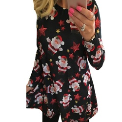 5XL Big Size New Year Christmas Dress Deer Printed Dresses 2019 Winter Loose Casual Family Party Dresses Women Plus Size Vestido 4