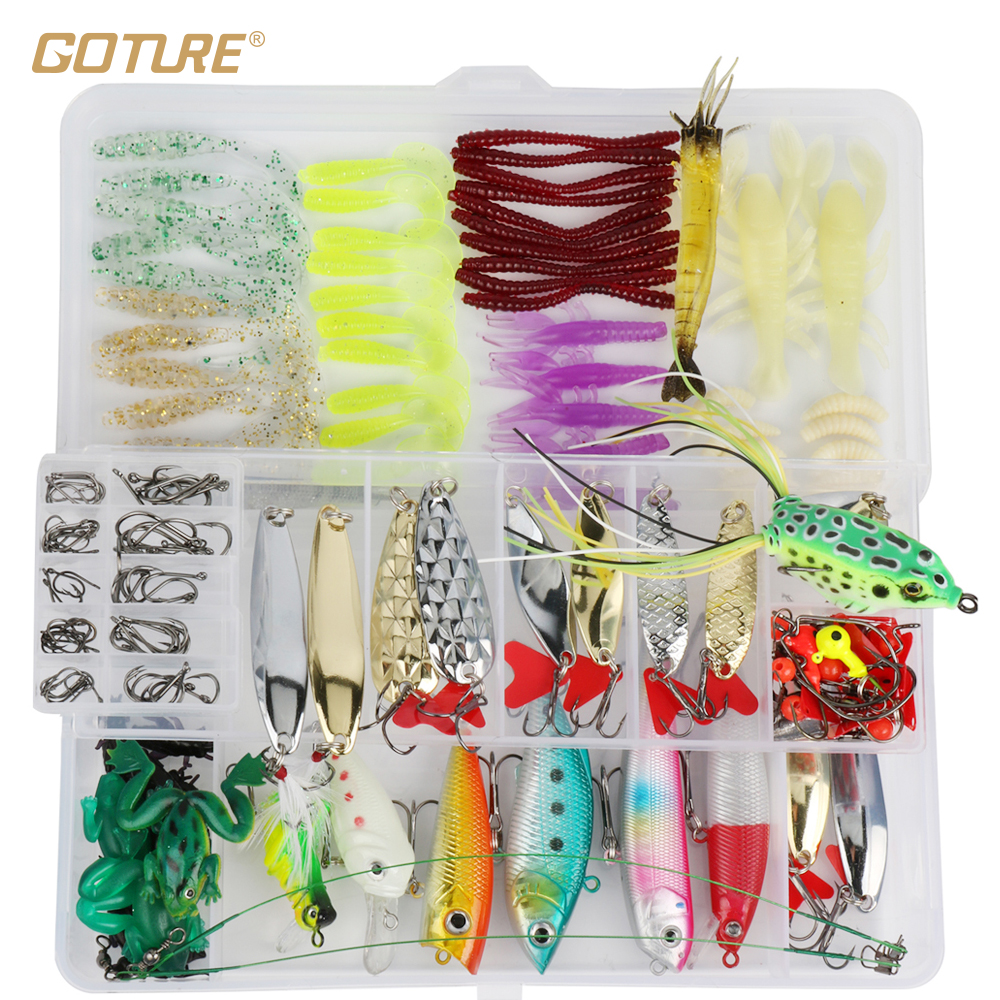 Goture 175pcs/box Fishing Lure Kit Minnow Spoon Crank Jig Fog Spinner Bait Fishing Hook Soft Lure With Fishing Tackle Box fishing lure kit 108 pcs pack minnow popper crank spinner metal lure spoon swivel soft bait set combo tackle accessory box