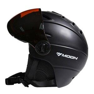 Image 2 - Lua meia coberto certificação ce capacete de esqui integralmente moldado esportes ao ar livre óculos de esqui capacete snowboard