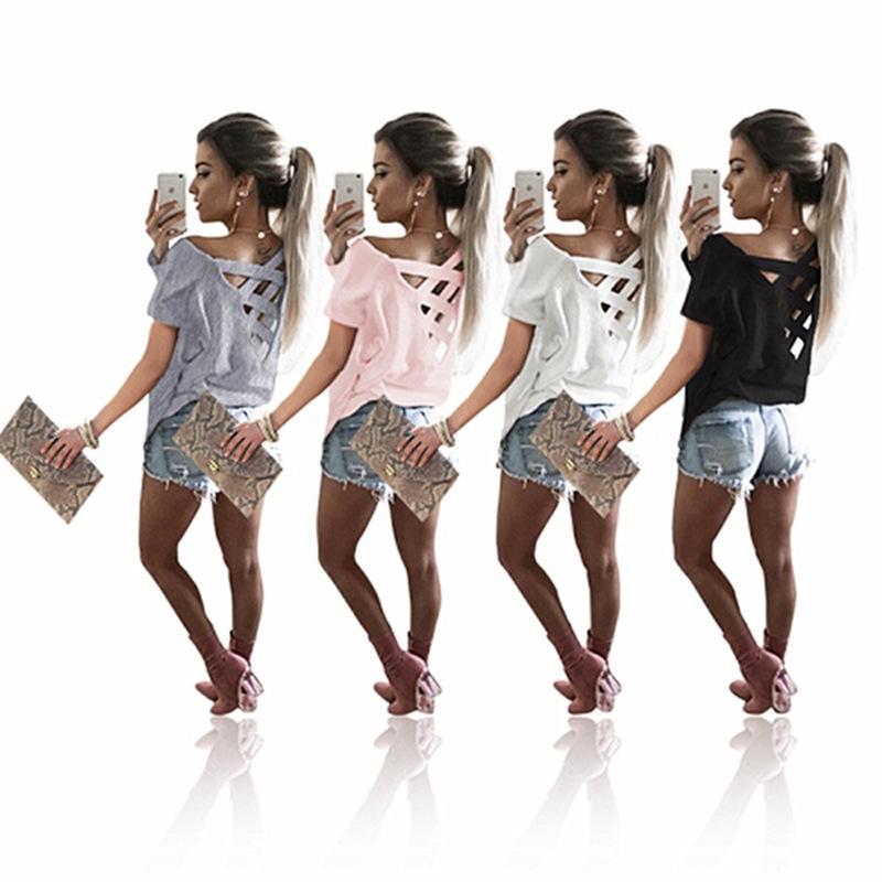 Women's Sexy Backless Hollow Bandage Punk Tee Shirt, Woman's Short Sleeve Summer T-Shirt 7