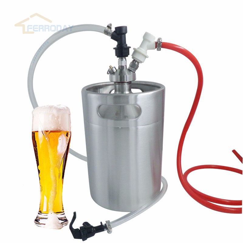 Home brewing 5L Beer Mini Keg Growler + Mini Keg Tap Dispenser with Gas Line Assembly Ball Lock set Top Quality image