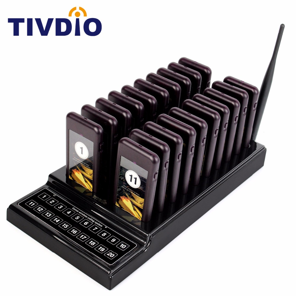 TIVDIO 20 Call Restaurant Pager Wireless Paging Queuing System Guest Call Button Rechargeable Battery Restaurant Equipment F9401 2 receivers 60 buzzers wireless restaurant buzzer caller table call calling button waiter pager system