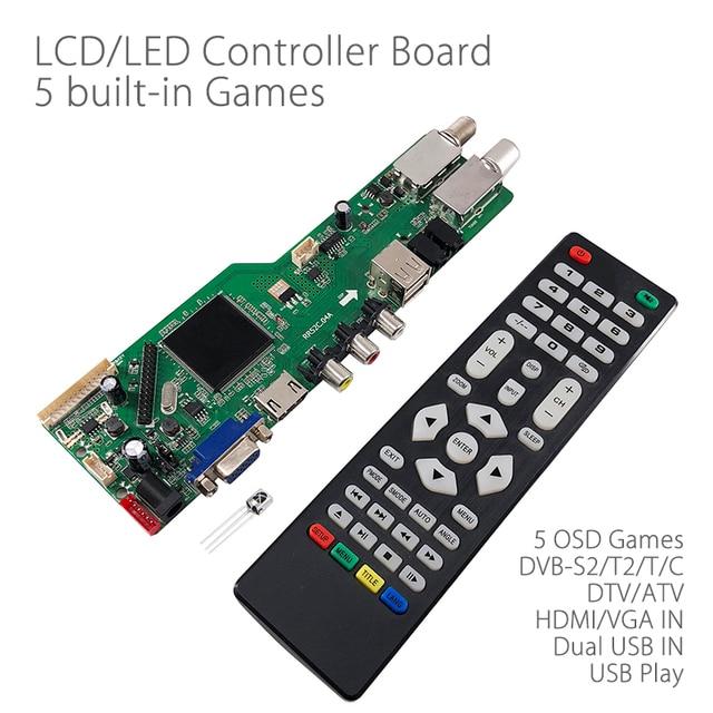 5 OSD Game RR52C.04A Support Digital Signal DVB-S2 DVB-C DVB-T2/T ATV Universal LCD Driver Board Dual USB play media