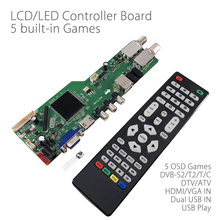 5 OSD gra RR52C.04A obsługa sygnału cyfrowego DVB S2 DVB C DVB T2/T ATV uniwersalny panel sterowników LCD podwójny nośnik USB