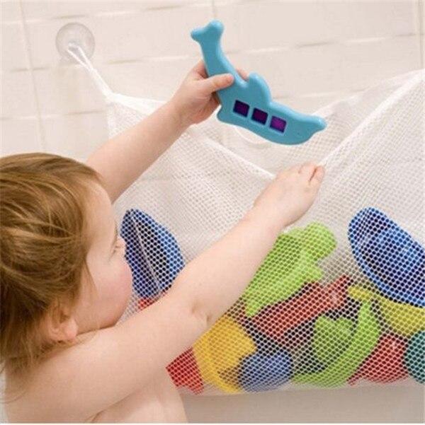 1pc/lot Kids Baby Bath Time Fishing Toys Storage Suction Bag Folding Hanging Fish Toys Mesh Net Bathroom Shower Toy Organiser