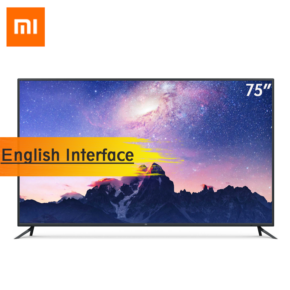 Xiaomi Smart TV 4 75 Polegada AI Inteligência Voz Inglês Interface de Televisão Sem Fio Ultra-fino 4 K HDR 2 GB + 32 GB RAM + Dolby DTS