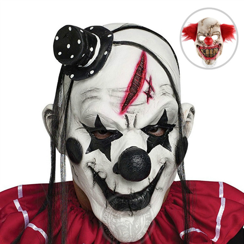 Black and Red Scary Clown Mask Full Face Cosplay Horror
