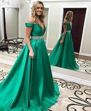 505c10f8e1142c Robe De Soiree Elegant Green Satin Avondjurk Lange Abendkleider Kraal  Taille Avondjurk Vrouwen Formele Jurk Marokkaanse