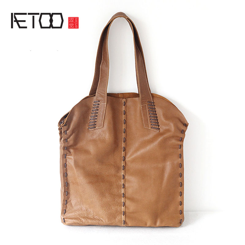 AETOO The original new head of the first pair of leather bags of Europe and the United States retro large capacity luggage bag b europe and the united states simple geometric pattern hand bag head layer of leather in the long wallet multi card large capacit