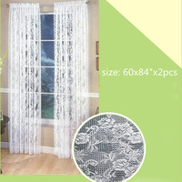 2Pcs Lace Floral Door Window Curtain Drape Panel Voile Tulle Sheer Scarf Valance For Living Room Bedroom Window Treatments