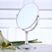 8 Inch Portable Desktop Makeup Mirror Europe Type Double Toilet Glass Mirror Oval/Round Shape White/Wine Red Makeup Mirror