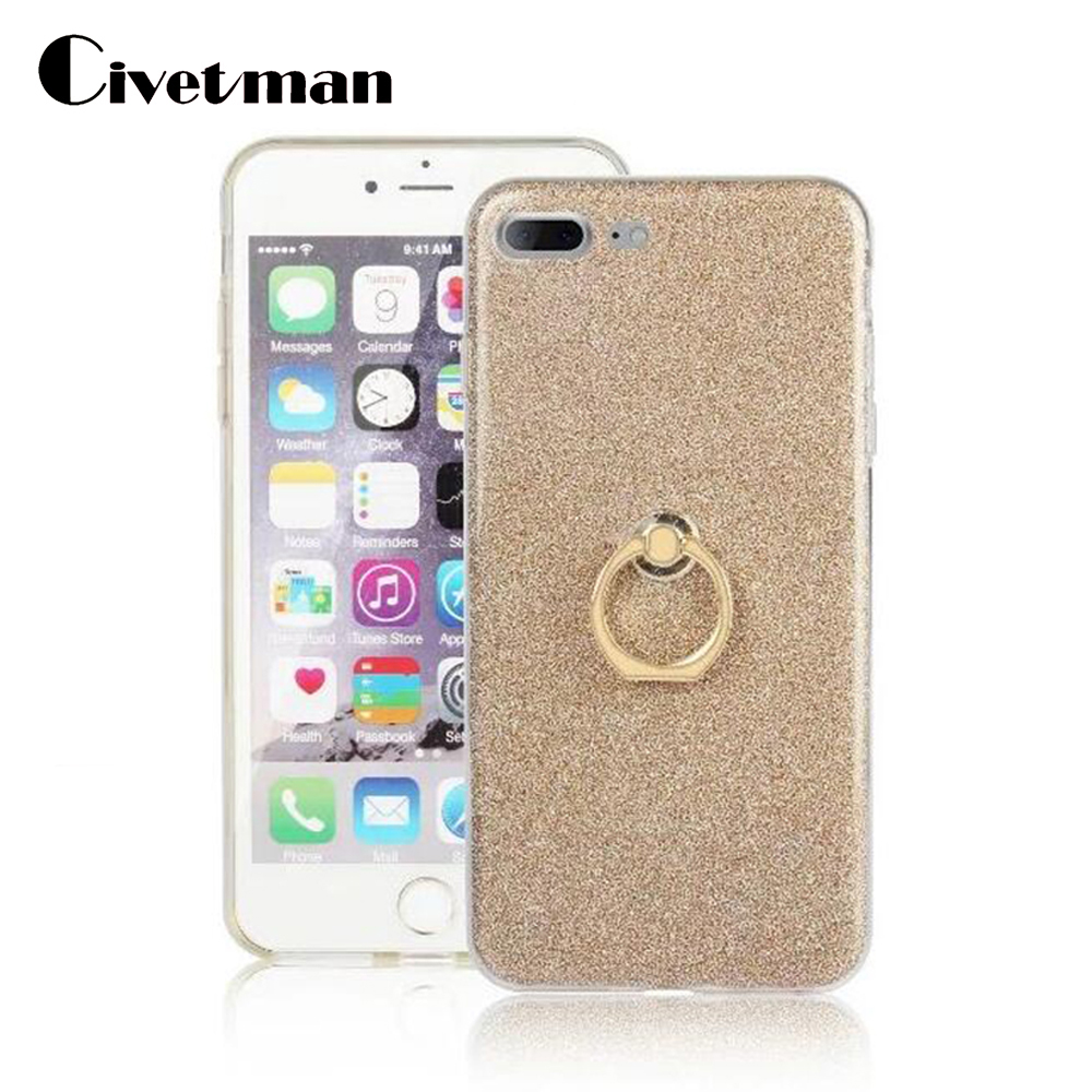 Cover Cell Phone Case For Apple iphone 7 plus 8 PLUS iphone <font><b>I7</b></font> I8 TPU Silicone Transparent Shell Flash Glitter Powder Ring Stent image