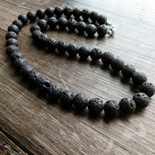 Vintage New Design 8mm 10mm Black Volcanic Lava Rock Beads Chains Necklace Men Jewelry