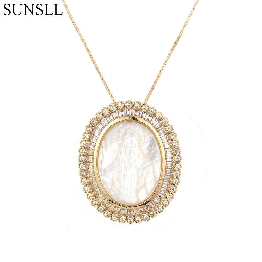SUNSLL Gold Color Copper White Color Cubic Zirconia And Shell Oval Pendant Necklaces Women's Fashion Jewelry CZ Colar Feminina