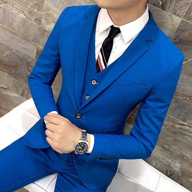 0ea6e8fb0bb64 Royal Blue Slim Fit Suit Wedding Suits for Men Best Man Blazer Jacket Skinny  Groom Tuxedo Prom Wear 3 Pieces 1 Button Ternos